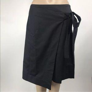 Halogen Faux Wrap Black Work Career A Line Skirt
